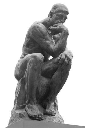 La statua di pensatore dal Rodin scultore francese  Archivio Fotografico