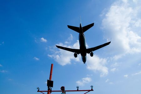 A Big Airplane Landing at the Airport Stock Photo - 6015730