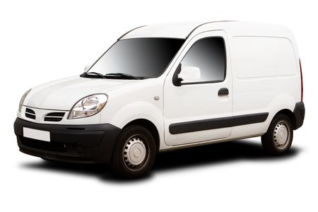 A White Delivery Van Isolated on White photo