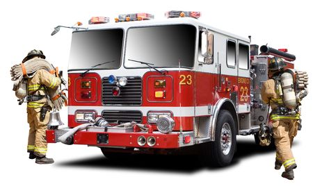 carro bomberos: Grandes camiones de fuego de red aislada en blanco