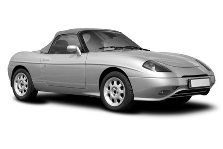 sportcar: Monochrome photo of a sportcar isolated on white background