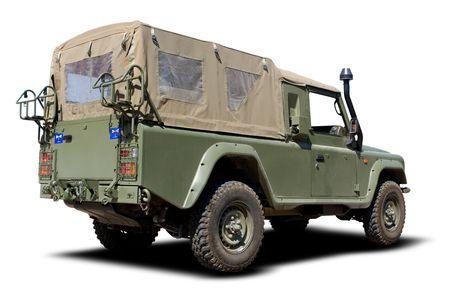 Green European Military Truck Isolated on White photo