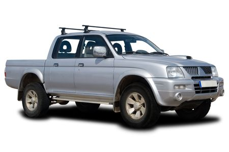 pickup: Silver 4x4 Pickup Truck Isolated on White