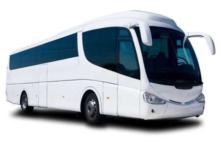 business traveller: A Big White Tour Bus in the Parking Lot