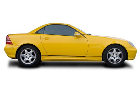 A Yellow Sports Car Isolated on White photo