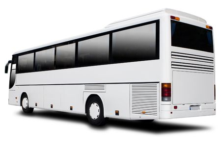 A big tour bus isolated on white