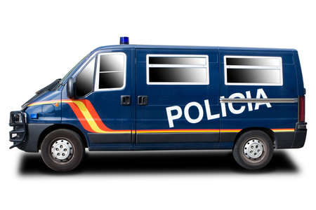 A Blue Police Car in Europe (Spain) Isolated on White photo