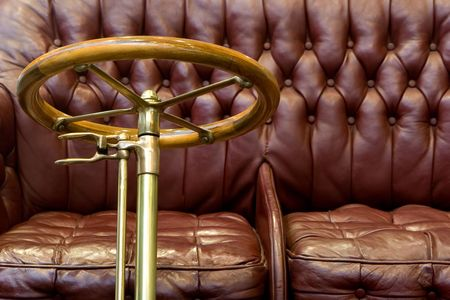 sterring: Red Leather Seat in a Classic Car Stock Photo