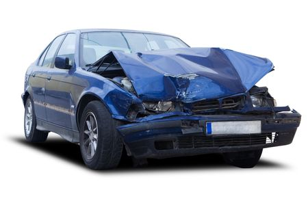 auto accident: A blue wrecked car isolated on white