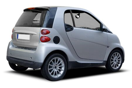 compact: A Silver Compact Car Isolated on White