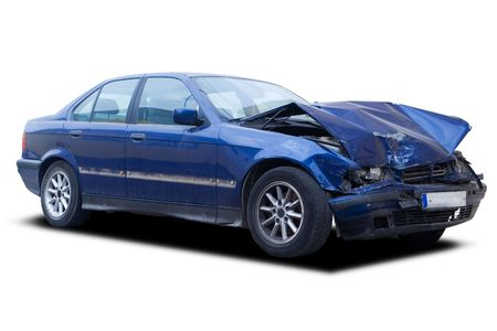 wreck: A blue wrecked car isolated on white
