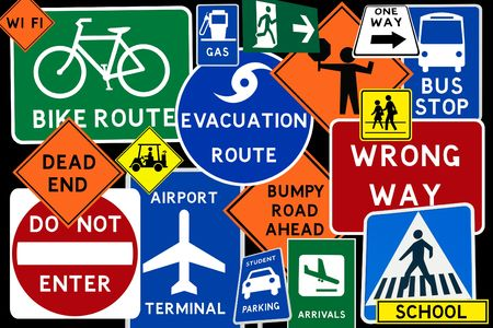 A colorful  montage of traffic road signs photo