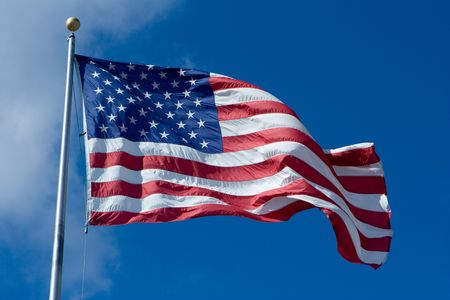 United States of America Flag Blowing in the Wind