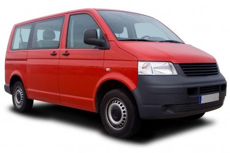 shuttle: Big Red Passenger Van Isolated on White