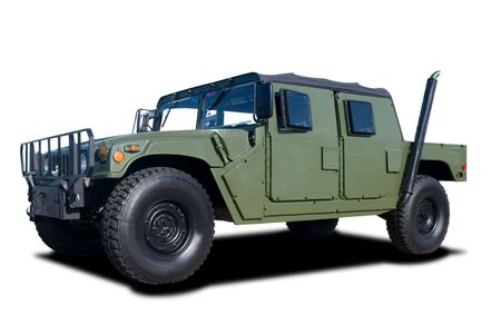 A Green Military Vehicle Isolated on White