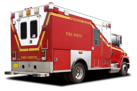 fire truck: A Big Red Ambulance Fire Rescue Truck Stock Photo