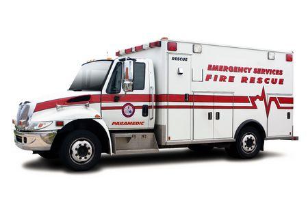 V�hicule de secours ambulance incendie isol� sur blanc Banque d'images