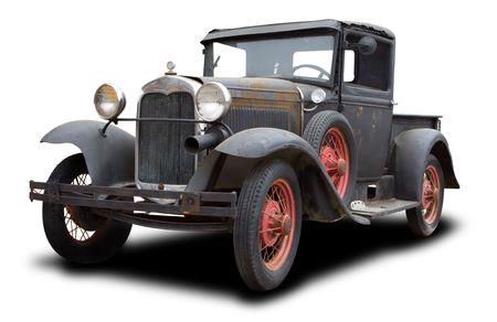 coche clásico: 1930 Viejo Rusted Truck aislada en blanco