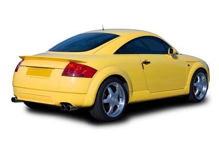 rear wheel: A yellow sports car isolated on white