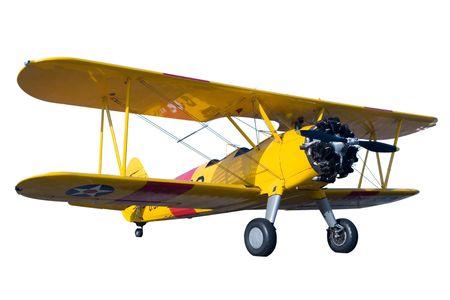 piloto de avion: Un plano amarillo de bi aislado en blanco Foto de archivo