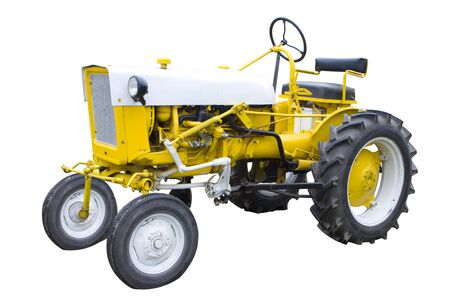 An Old Yellow Tractor Isolated on White Stock Photo - 6931555