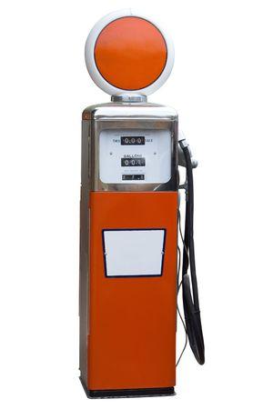 Orange Antique Gas Pump Isolated on White
