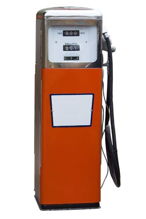 Orange Antique Gas Pump Isolated on White Stock Photo - 7244080