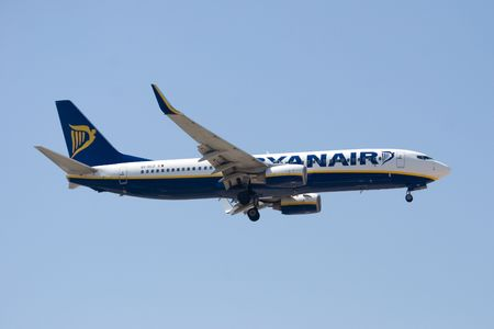 VALENCIA, SPAIN - MAY 18: Ryanair says that it will reimburse expenses for passengers stranded during the mass shutdown of European airspace. A Ryanair Aircraft on May 18, 2010 in Valencia, Spain.  Stock Photo - 7241357