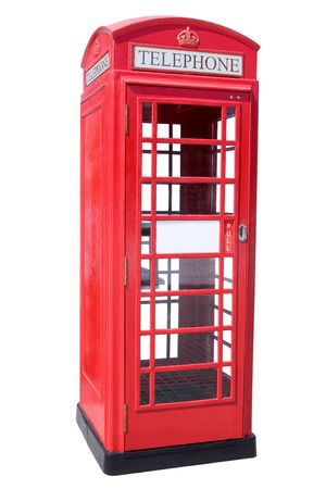 cabina telefonica: La cabina de tel�fono Roja brit�nica aislada en blanco