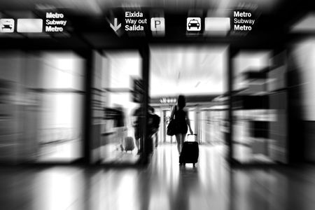 Woman leaving the airport
