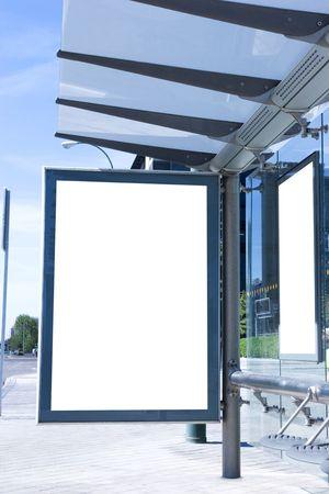 Blank bus stop billboard  photo