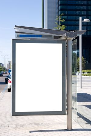 Blank bus stop billboard  Фото со стока