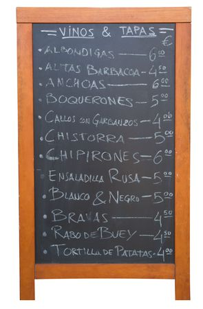A Tapas menu in Valencia, Spain isolated on white. photo