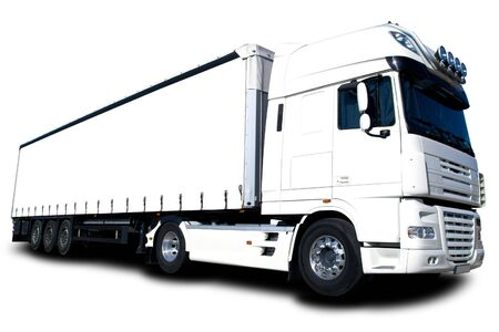 truck driver: Semi trailer truck isolated on white