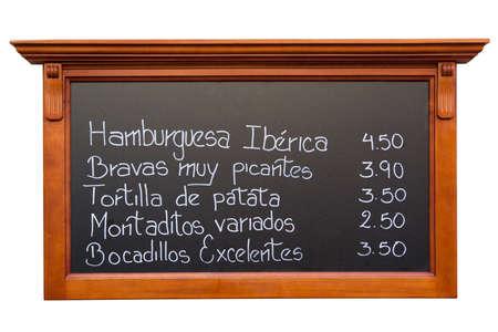 マドリードのレストランからスペイン語メニュー 写真素材