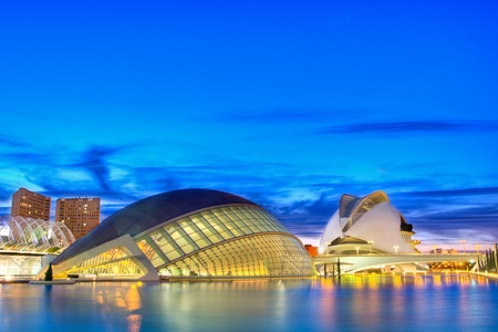 valencia: VALENCIA, SPAIN - NOV 14: The City of Arts and Sciences receives a daily average of 9,373 visitors. Over 65% of the vistors are from outside the Valencia region. The City of Arts and Sciences on November 14, 2010 in Valencia, Spain.