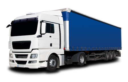 truck driver: White Blue Semi Truck with Isolated Background Stock Photo