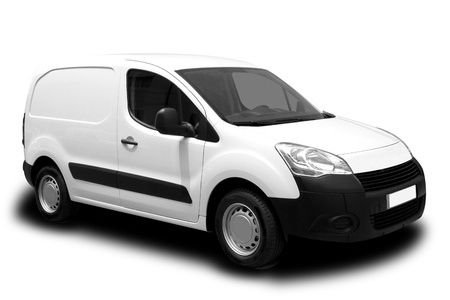 courier: A White Delivery Van Isolated on White