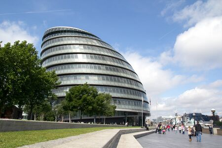 LONDON - May 30: The London City Hall Building on May 30, 2011 in London, England. The building is considered a green building because photovoltaic solar panels were installed on City Halls roof in August 2007.