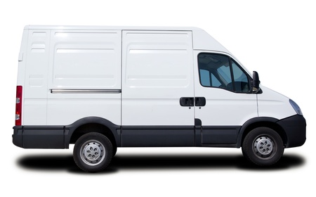 delivery driver: Big White Cargo Van Isolated Stock Photo