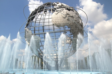 QUEENS, NEW YORK - AUG 5: The Unisphere in Queens, New York on August 5, 2011.  A theme symbol of the 1964 Worlds Fair, dedicated to Mans Achievements on a Shrinking Globe in an Expanding Universe.