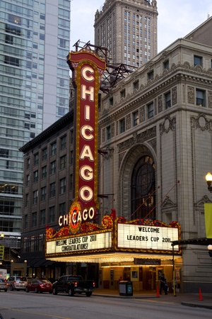 replaced: CHICAGO - AUGUST 27: The famous Chicago Theater on State Street on August 27, 2011 in Chicago, Illinois. Opened in 1921, the theater was renovated in1986 at a cost of $4.3 million. The entire marquee was replaced in 1994, but retains the look of its prede Editorial
