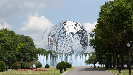 NEW YORK - AUG 5: The Unisphere in Queens, New York on August 5, 2011. A theme symbol of the 1964 Worlds Fair, dedicated to Mans Achievements on a Shrinking Globe in an Expanding Universe.
