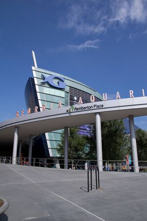 ATLANTA - AUGUST 8: The Georgia Aquarium facade in Atlanta on August 8, 2011. The boat shaped landmark is the world's largest aquarium with more than 8 million gallons of water. Stock Photo - 10559380
