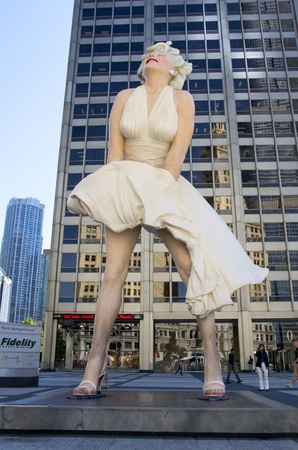 CHICAGO - AUG 25: A giant 26 foot tall sculpture of Marilyn Monroe stands in a square on Michigan Avenue in Chicago on August 25, 2011. The work was created by artist Seward Johnson.