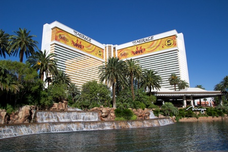 LAS VEGAS - AUG 17: The Mirage, a 3,044 room hotel, on August 17, 2011 in Las Vegas. The marquee in front of the Mirage is the largest free standing marquee in the world. Editorial