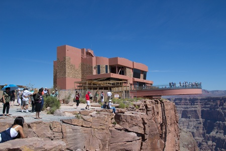 GRAND CANYON WEST, AZ- AUG 16: Tourist visit The Skywalk at the West Rim of the Grand Canyon on August 16, 2011.  The Skywalk is suspended four thousand feet above the Colorado River.