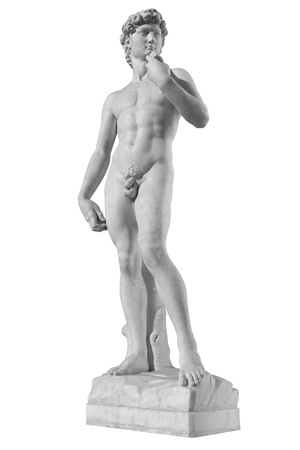 Statue of David isolated on white background photo