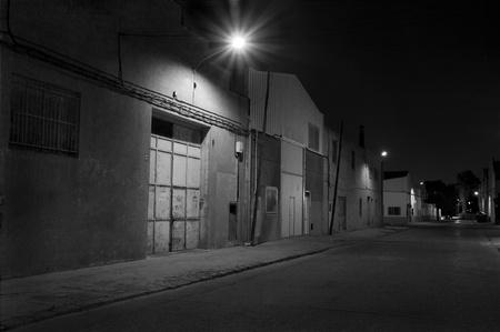 Industrieterrein 's nachts Stockfoto