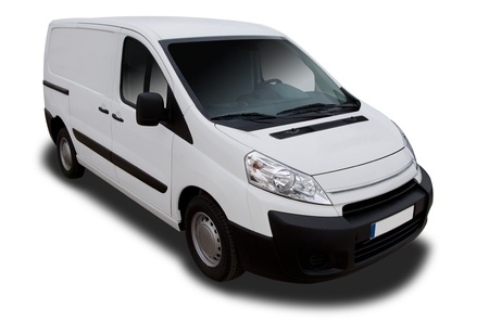 courier: White Delivery Van Isolated on White Stock Photo